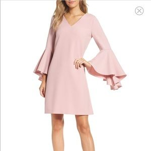 Eliza J Belle Sleeve Shift Dress Blush Pink V-neck